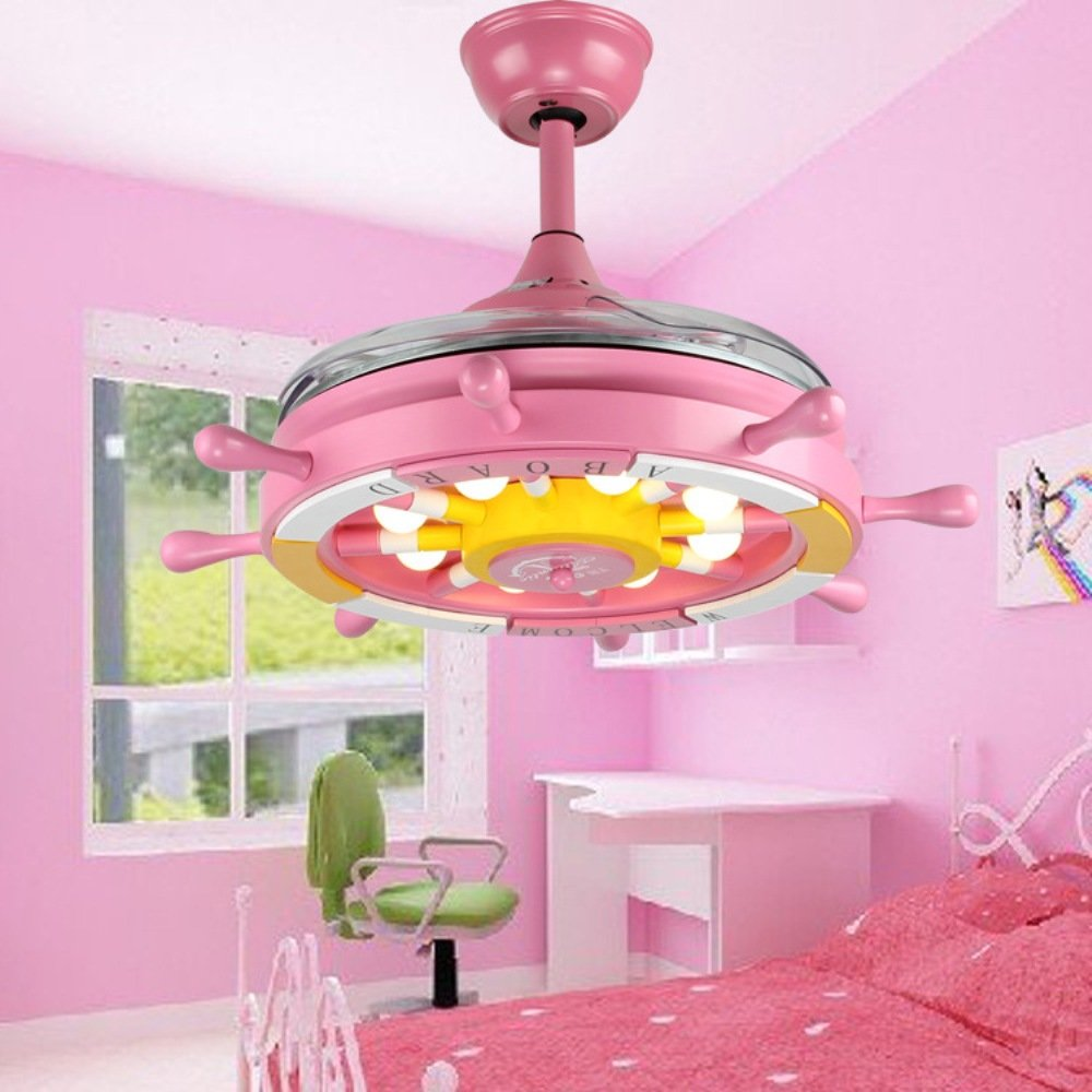 RS Lighting Children Bedroom Retractable 36 inch Pink Ceiling Fan Lights Pirate Ship Steering Wheel Led Fan Chandelier for Living Room Ceiling Lights