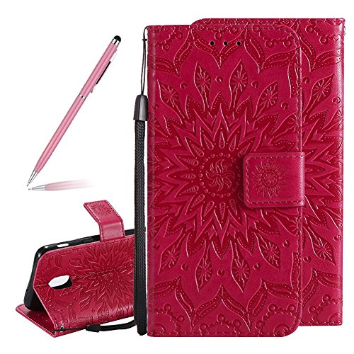 Price comparison product image 3D Mandala Flowers Wallet Case for Samsung Galaxy J3 2018, SKYXD Embossing Sunflower Classic Ethnic PU Leather Magnetic Folio Kickstand Flip Holders Case with Card Slots for Samsung Galaxy J3 2018(Red)