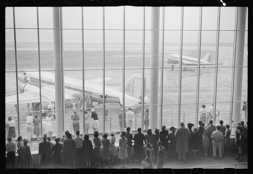 Reproduced Photo of Visitors Watching Planes Through The Window of The Main Waiting Room at The Municipal Airport in Washington, D.C. 1941 Delano C Jack 73a