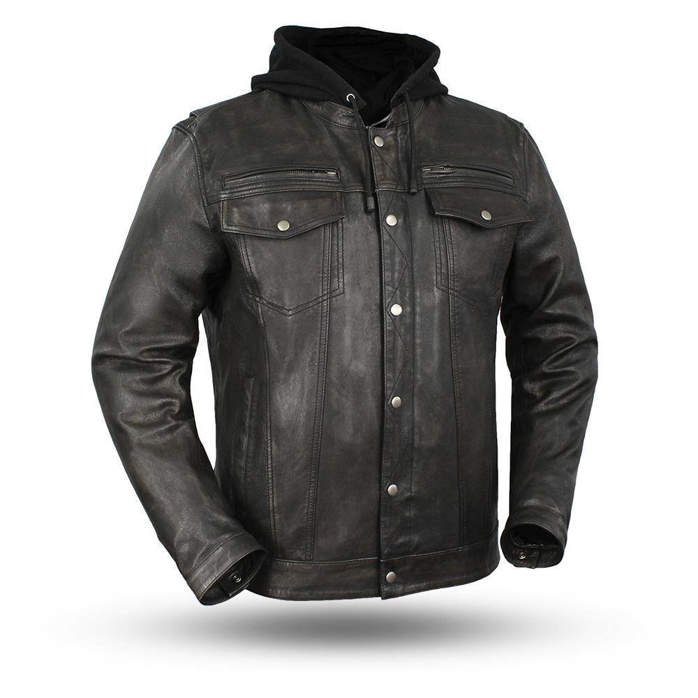 First Manufacturing Men's Motorcycle Light Weight Blk Distressed Look Leather jacket shirt with Hudy (3XL Regular)