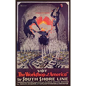 Spring Dune State Park vintage South Shore Line poster repro 16x24