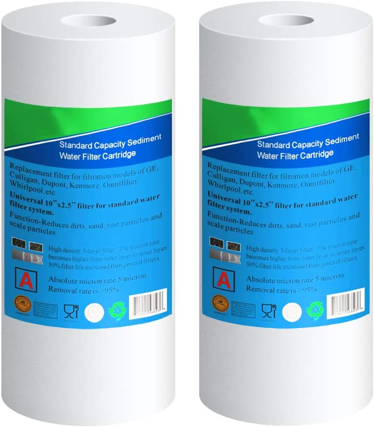 5 micron)Compatible wit Culligan RFC-BBSA , WFHD13001B, GXWH35F, GXWH30C, 3M Aqua-Pure AP817,Whirlpool WHKF-GD25BB EXCELPURE Big Blue Whole house Sediment Water Filter 10 x 4.5 2 PACK