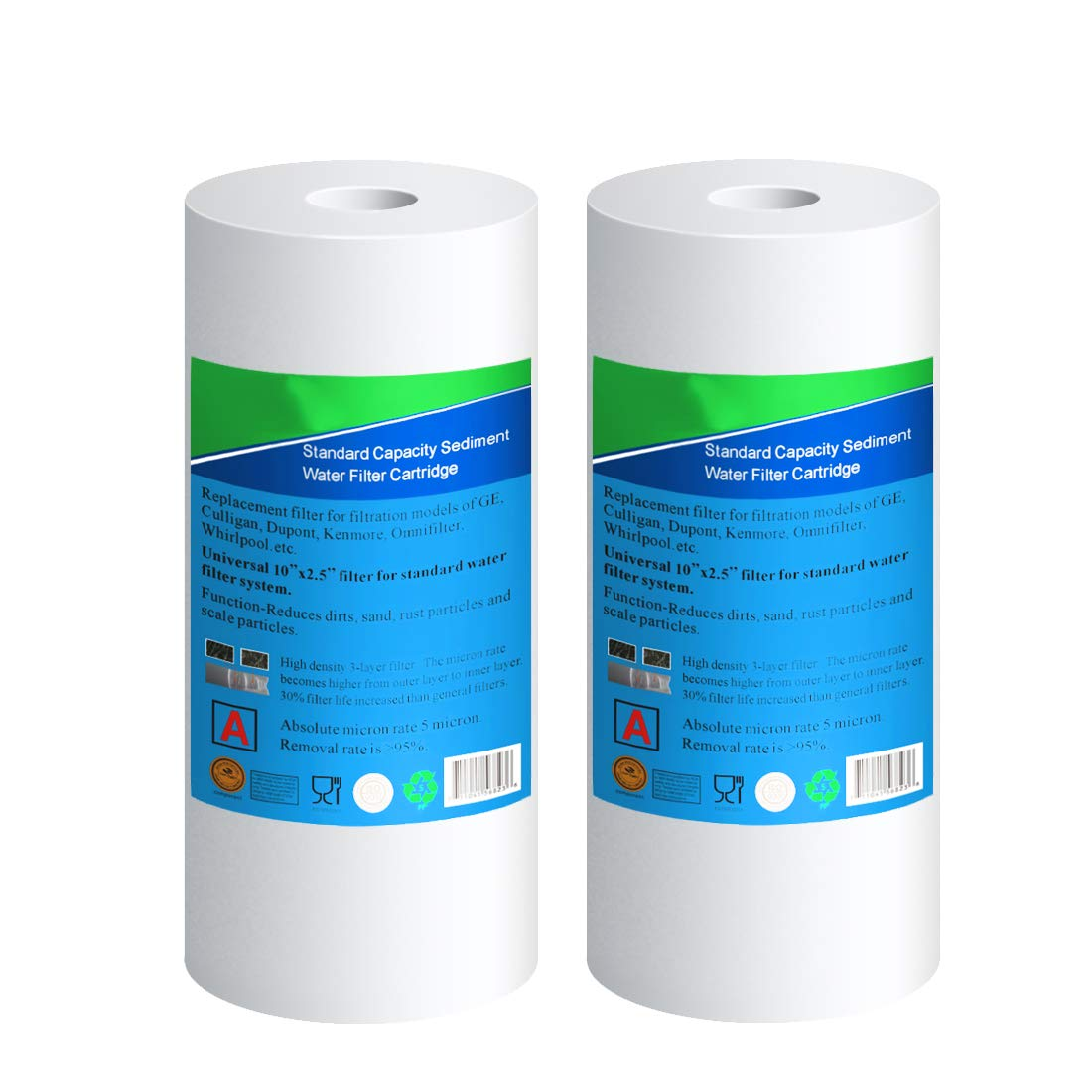 W//Rubber Wash Eurotech Enterprise Inc EXCELPURE Whole house 4.5 x 10 5 Micron)PP Sediment Water Filter Compatible with DuPont WFHD13001B,Pentek DGD, RFC Series,Culligan RFC-BBSA,Whirlpool WHKF-GD25BB,and Big Blue Housing