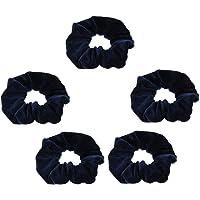 Prettyia 5/pack Elastic Velvet Hair Scrunchies Hair Band Soft Hair Ties - Navy Blue, as described
