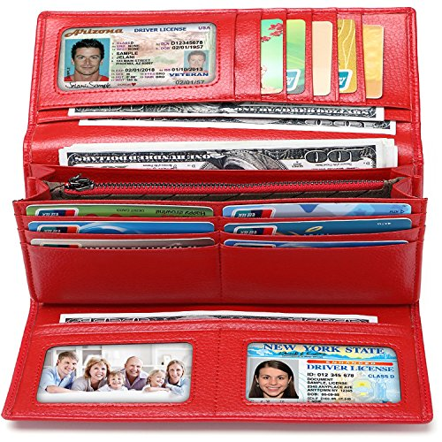i2crazy Womens RFID Blocking Wallet Classic Clutch Leather Long Wallet Card Holder Purse Handbag(At RED Genuine Leather)