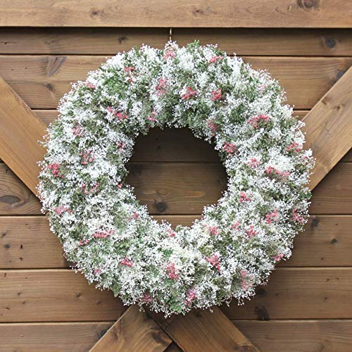 (Handmade Natural Dried Preserved Floral Wreath | Pink Green and White Spring Arrangement | Custom Shades of Pink | Preserved Floral Home Accent | All Season Decorative Wreath)