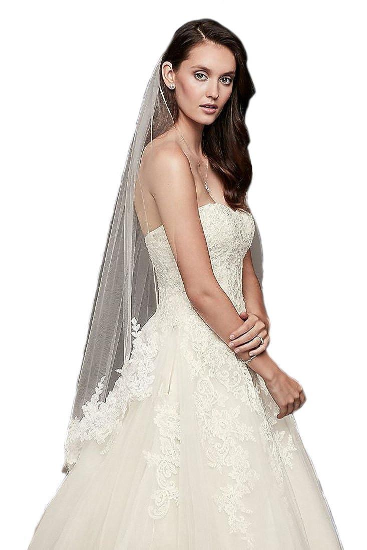 Passat Trailing Floral Lace Applique Wedding Veil DB123 DB123-MFN