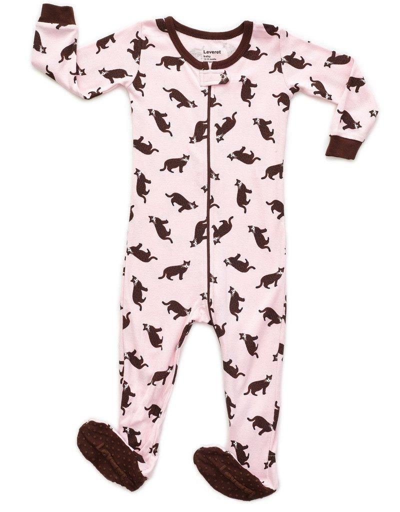 9b2c72efa7 Leveret Baby Girls Footed Pajamas Sleeper 100% Cotton Kids   Toddler Pjs  Sleepwear (6