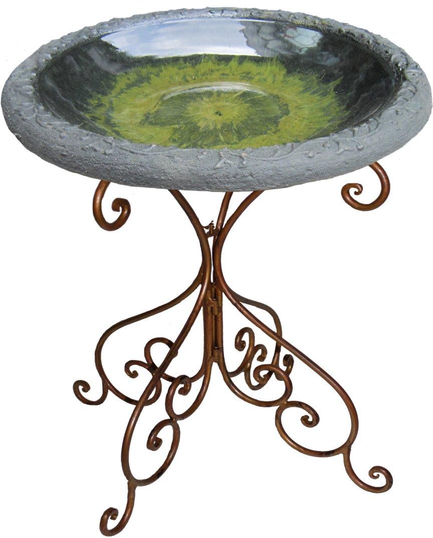 Tierra Garden 4-8184B Light Green Gloss Bird Bath Bowl, with Matte Rim and Deluxe Metal Tube Base
