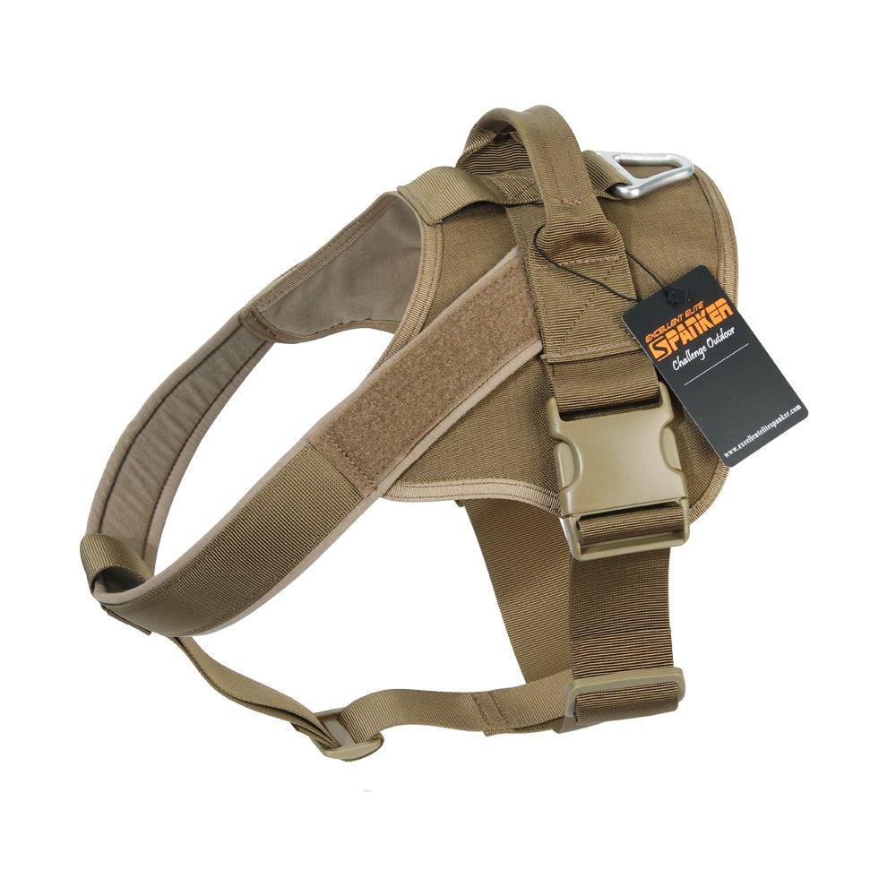 EXCELLENT ELITE SPANKER Tactical Dog Harness Military Patrol K9 Dog Harness Service Dog Vest Nylon Working Dog Vest with Handle(Coyote Brown-L)