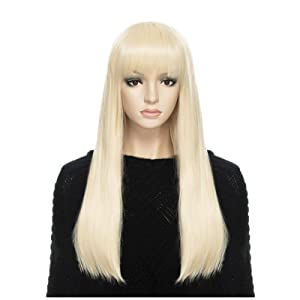 DAOTS Wig 24-Inch Straight Cosplay Synthetic Wig for Women (Light Blonde)