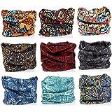 Pack of 9PCS Outdoor Multifunctional Sports Magic Scarf, Magic Bandanas Tube, Seamless Scarf, Collars Muffler Scarf Face Mask, High Elastic Magic Headband with Uv Resistance, Headscarves, Headbands