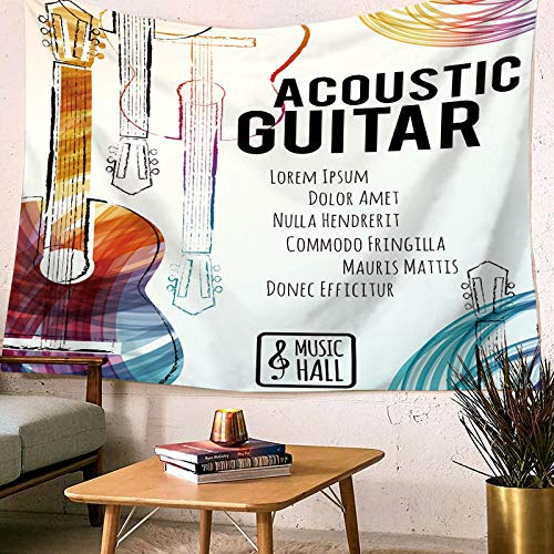 (MRQXDP Guitar Orange, Hand-Painted Cartoon Picture, Tapestry for Living Room Bedroom Dormitory Decoration )