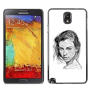 All Phone Most Case / Hard PC Metal piece Shell Slim Cover Protective Case Carcasa Funda Caso de protección para Samsung Note 3 N9000 N9002 N9005 Beautiful Woman Sketch Black White