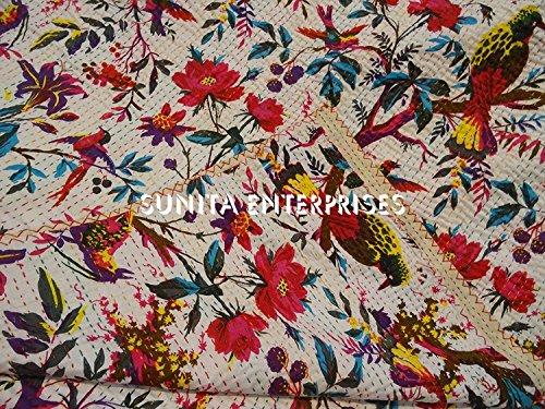 Sunita Enterprises King Size Cotton Handmade White Bird of Paradise Kantha Quilt Reversible Blanket Bedspread, Indian Sari Embroidered AC Rallies Rali Kantha Throw Bohemian Bedding Size 90x108 ()