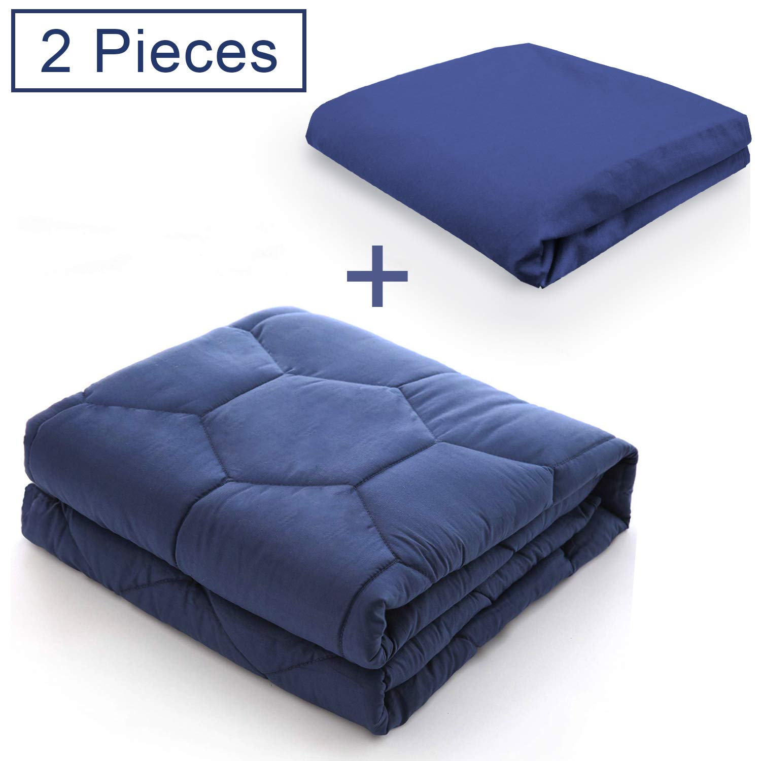 YEMYHOM 100% Breathable Weighted Blanket with Removable Cotton Duvet Cover for Easy Clean   Heavy Blankets for Adult and Kids   20 lbs 60''x80'' Queen Size   Navy Blue by YEMYHOM
