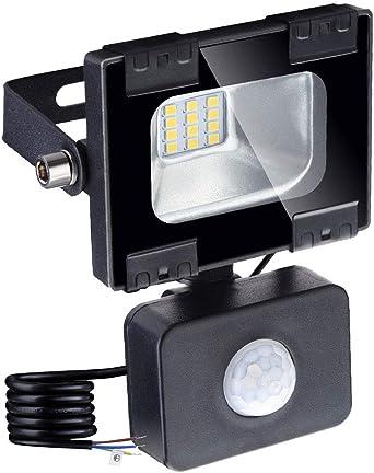 Foco led exterior con Sensor Movimiento de alto brillo 1000lm, 10W, Proyector led exterior de impermeable IP65, Iluminación led de seguridad, luz led para patio, jardín, camino: Amazon.es: Iluminación