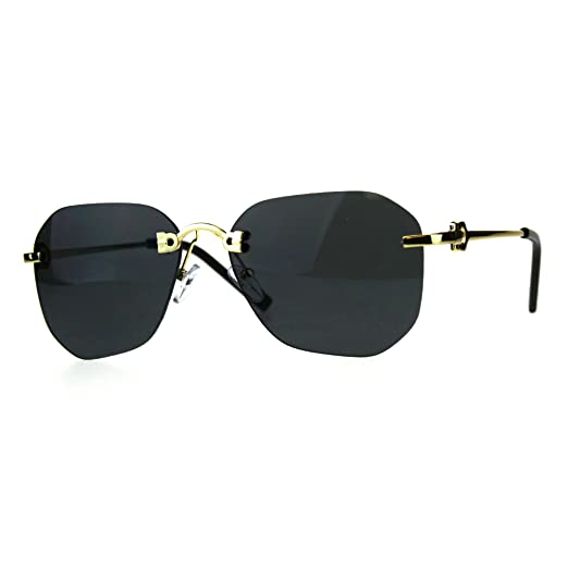 a5a8d7c13ba Womens Rimless Rectangular Butterfly Designer Fashion Diva Sunglasses Black