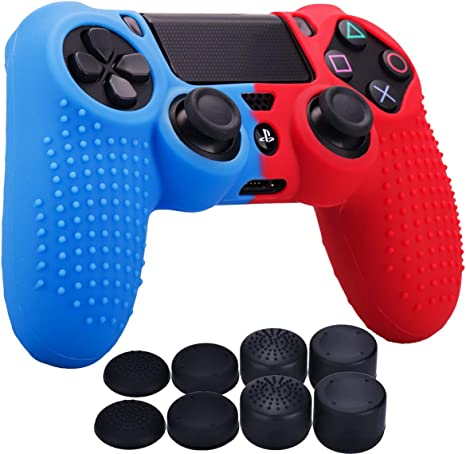 YoRHa Tachonado Puntos Silicona Caucho Gel Personalizando Cubrir Fundas Cover para Sony PS4/Slim/Pro Mando x 1 (Rojo&Azul) Con Pro Asideros Thumb Grips x 8: Amazon.es: Videojuegos