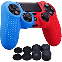 YoRHa Studded Dots Silicone Rubber Gel Customizing Cover for Sony PS4/slim/Pro Dualshock 4 controller x 1(Red&Blue) With Pro thumb grips x 8