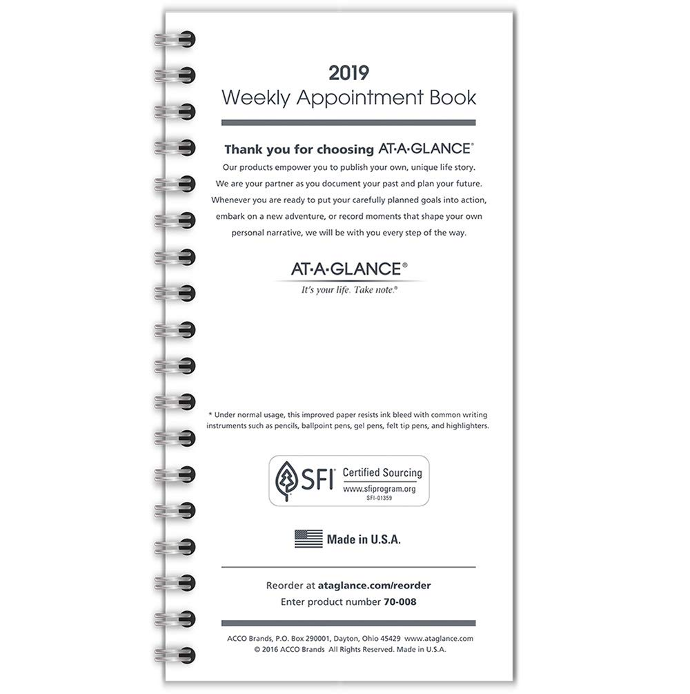 AT-A-GLANCE 2019 Weekly Appointment Book /Planner Refill, 3-1/4