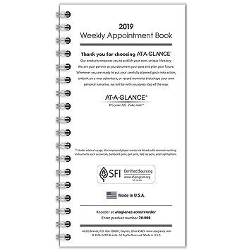 AT-A-GLANCE - Agenda semanal para citas, enero 2019 ...