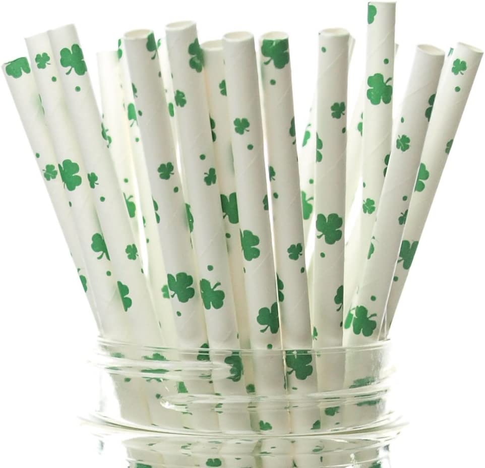 Shamrock Straws (25 Pack) - St Patrick's Day Party Supplies