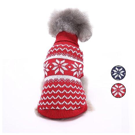 2 Patrones de punto de copo de nieve suéter de perro, prendas de punto ropa