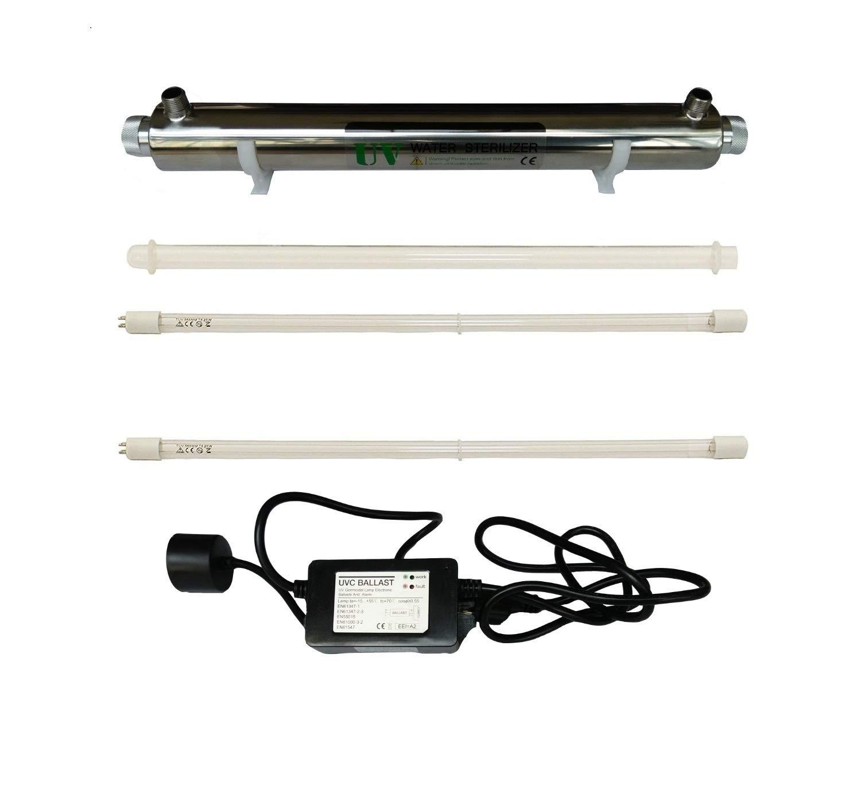 Ultraviolet Eau Système de désinfection en acier inoxydable 304 stérilisateur UV 6 GPM, 25 W lumière ultraviolette filtre à eau purificateur d',Standard britannique Plug, LED et son Alarme Ballast