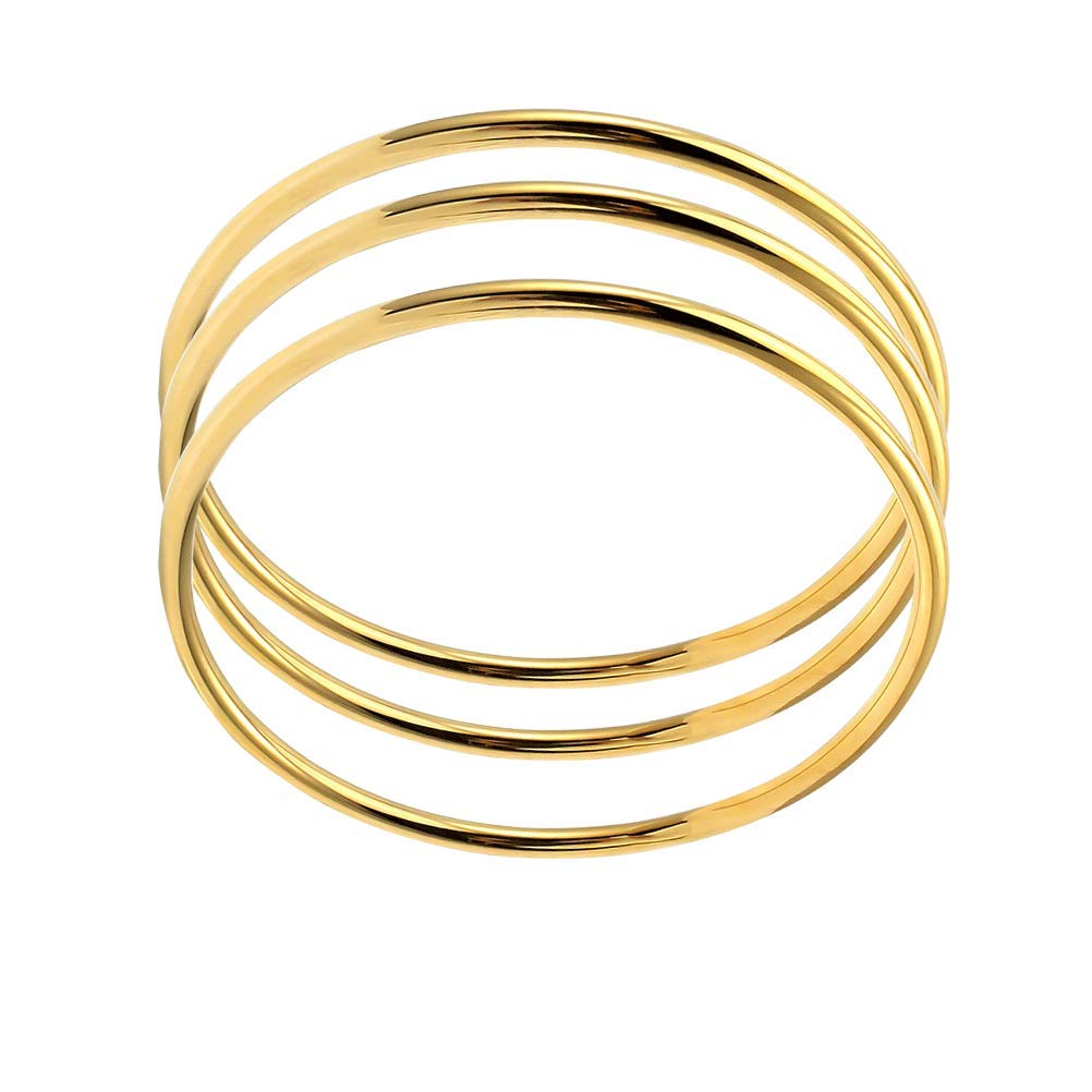 5e2fcc7fde8 Amazon.com: COOLYA HUA 60mm, 65mm, 70mm Loose Bangle 18k Gold Plated, Rose Gold  Plated Round Bracelet Shiny for Girls Women: Sports & Outdoors