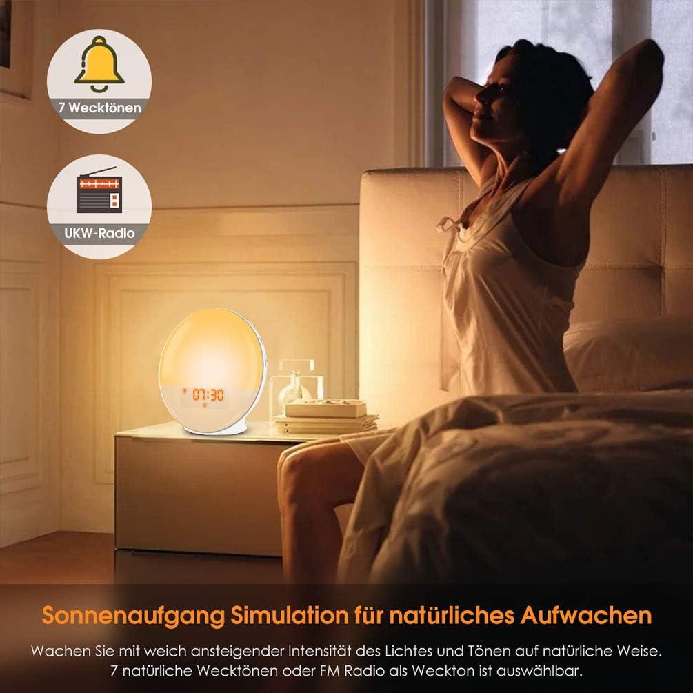 Lichtwecker LED Wake Up Light Tageslichtwecker FM Radio Wecker mit Licht 7 Farben 7 Weckt/öne Wecker Kinder Alarm Clock Digital Uhr Nachtlicht Nachttischlampe Wecker mit Sonnenaufgangssimulation