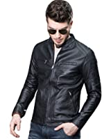 Mens Casual Slim Fit Moto Bomber Biker Racer Jacket PU Faux Leather BLACK Stand Collar