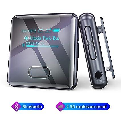 Wiwoo Reproductor MP3 con Bluetooth Brazalete con Gancho, Reproductor de Audio Música Digital, Podómetro Deportivo/Radio FM/Grabador de Voz/Memoria Interna de 16GB Expandible hasta 128GB