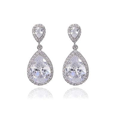 67407ea3015ab Amazon.com: Teardrop Dangle Earrings for Wedding Sterling Silver ...