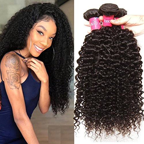 Klaiyi Hair 10A Brazilian Curly Hair Weave 3 Bundles Virgin Human Hair Extensions Natural Color 95-100g/pc (14 16 18inch) (Best Hair Products For Curly Weave)