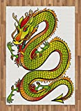 Dragon Area Rug by Ambesonne, Japanese Old Fashion Ancient Folk Myth Creature in Vibrant Toned Design, Flat Woven Accent Rug for Living Room Bedroom Dining Room, 5.2 x 7.5 FT, Lime Green Marigold Red