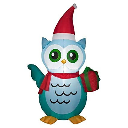 christmas inflatable 4 ft owl with santa hat and present airblown yard decoration - Outdoor Owl Christmas Decorations