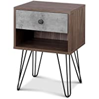 Artiss Bedside Table Wooden Nightstand Sofa Side Cabinet with Metal Legs