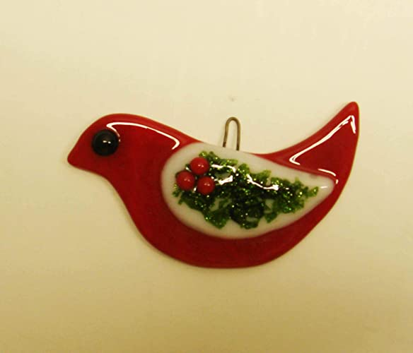 Amazon Com Red Bird With Holly Wing Fused Glass Christmas Ornament