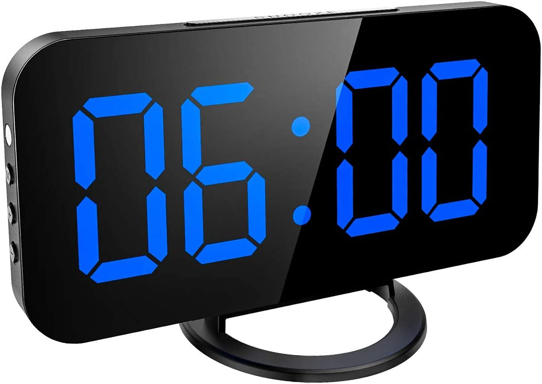AMIR Digital Alarm Clock, Large Mirror Surface LED Screen Display, Automatic Brightness Control with Snooze, Stylish led Clock with Dual USB Ports for Home, Bedroom