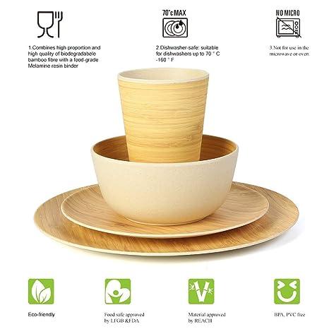 Amazon.com: Vajilla de fibra de bambú, 4 piezas, incluye ...