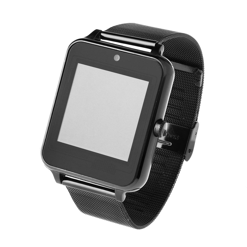 Redriver Multi-Language Bluetooth Smart Watch with Metal Strap for Android iOS (Black)