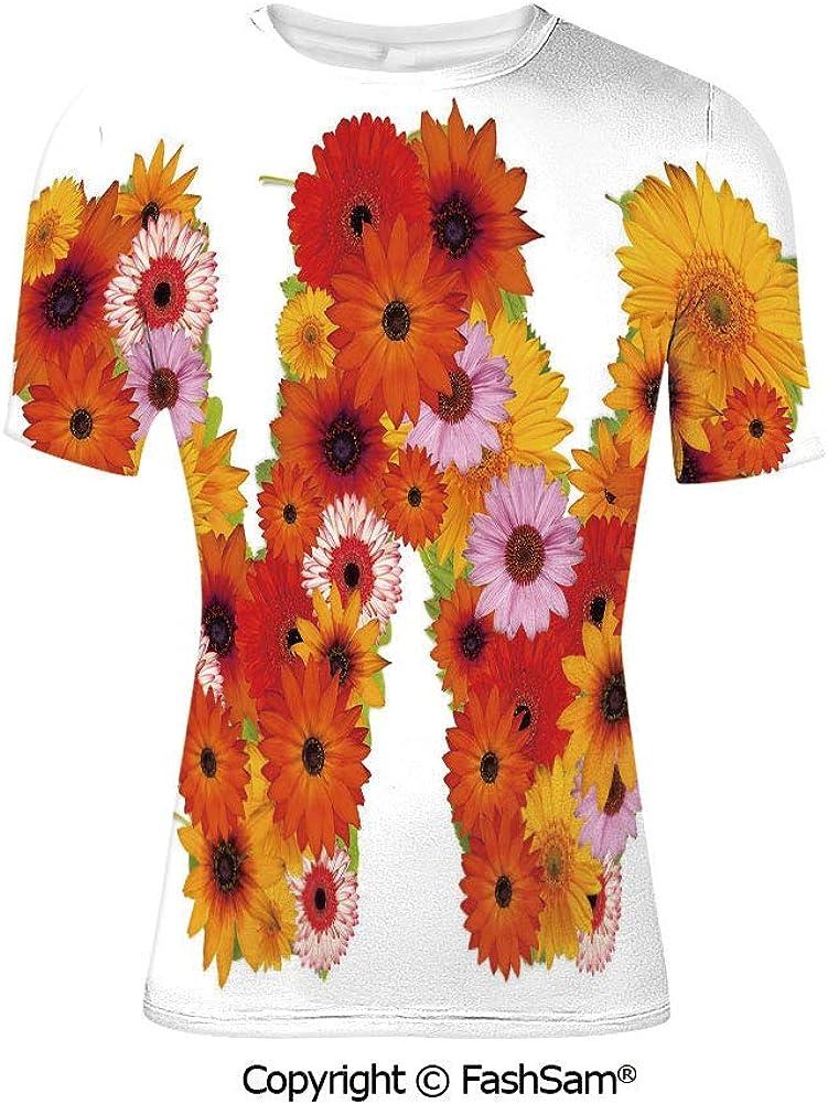 Fashion Printed T-Shirts Letter U Alphabet with Ursinia Flower Arrangement Patte
