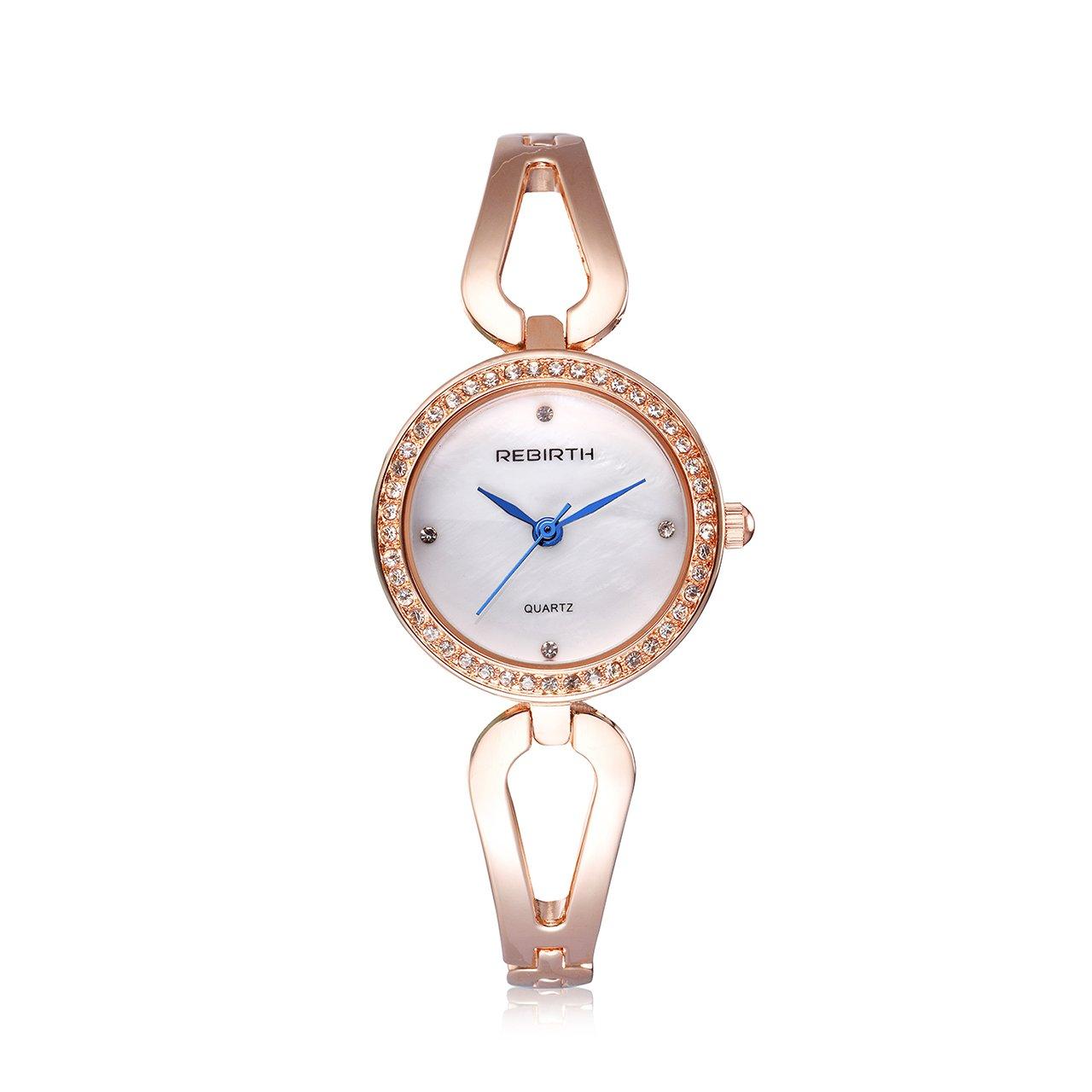 Top Plaza Women Ladies Elegant Luxury Alloy Bracelet Wristwatch Japanese Movement Rhinestones Decorated 30M Waterproof Analog Quartz Cuff Watch - Valentine's Day Gift(Rose Gold)