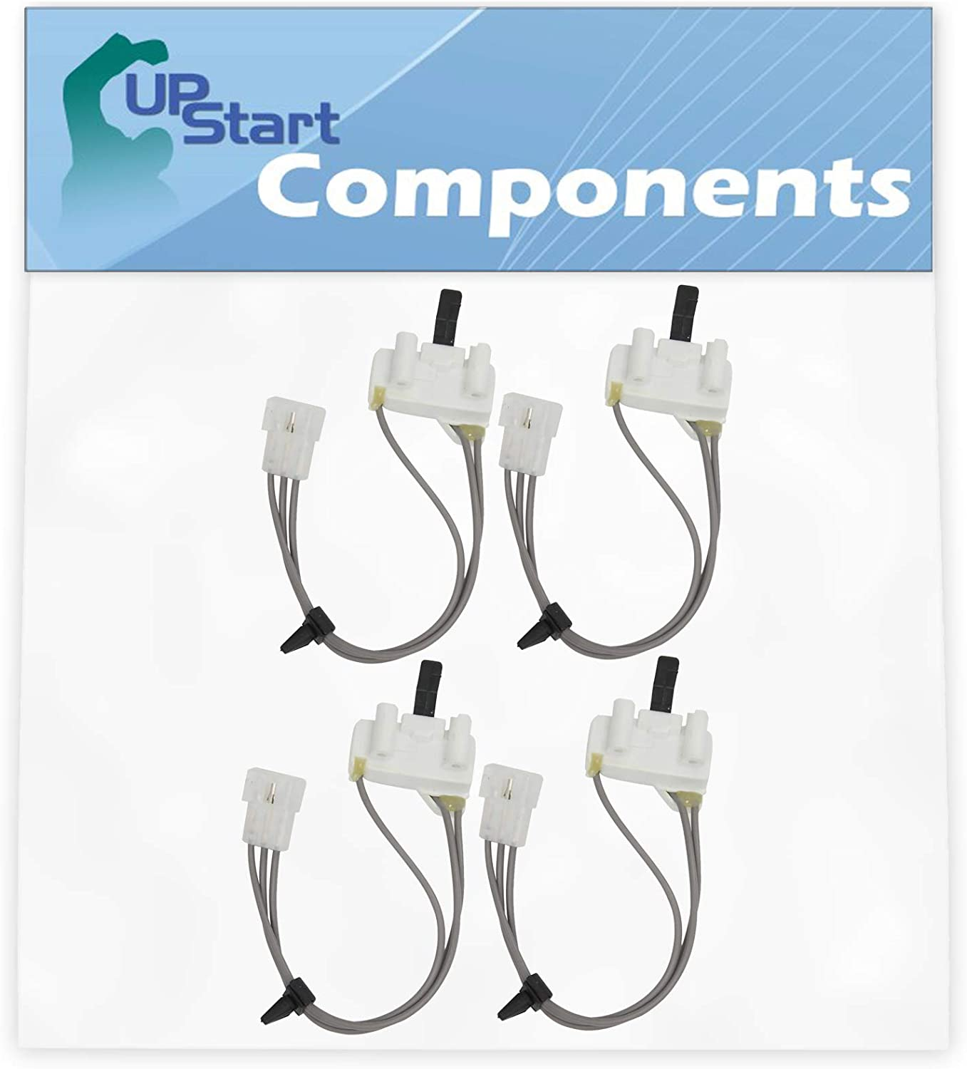 4-Pack 3406105 Dryer Door Switch Replacement for Whirlpool, Roper & Estate Dryers - Compatible with Part Number AP6008560, 3405104, 3405105, 3406104, PS11741700