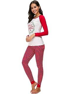 VIEWIM Women s Merry Christmas Letter Print Striped Matching Pajamas Sets  Sleepwear 6076d1491
