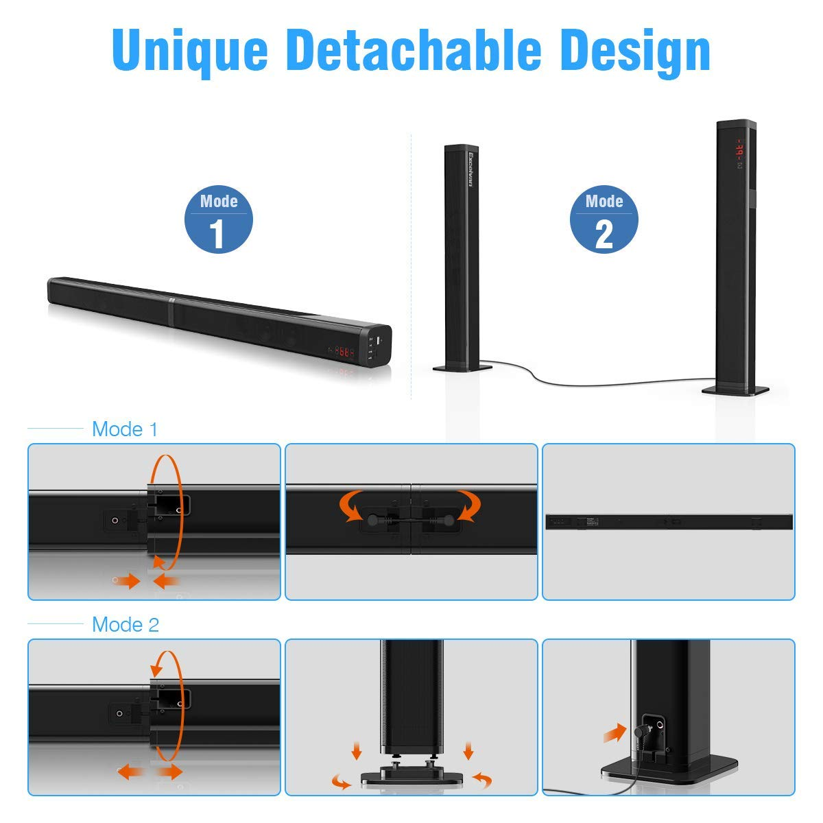 Wall Mountable Remote Control Samtronic Detachable Soundbar for TVS 37inch 80W 2.1 Channel Soundbar Speakers with Bluetooth V5.0 Sound Bars Surround Sound Home Theater Sound Bar with Subwoofer