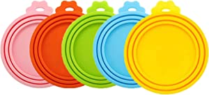 MYYZMY 5 Pcs Pet Can Covers,Food Can Lids, Universal BPA Free Silicone Can Lids Covers for Dog and Cat Food, One Can Cap Fit Most Standard Size Canned Dog Cat Food