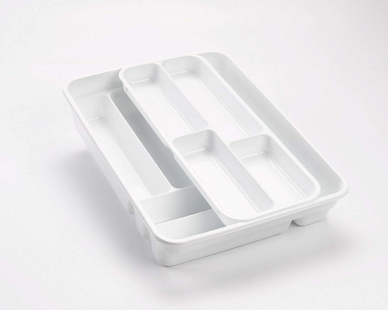 silver, 40 x 29.5 x 7 cm PlasticForte 2 Tier CUTLERY TRAY Flatware Organiser Strong Plastic Drawer Sliding Tidy