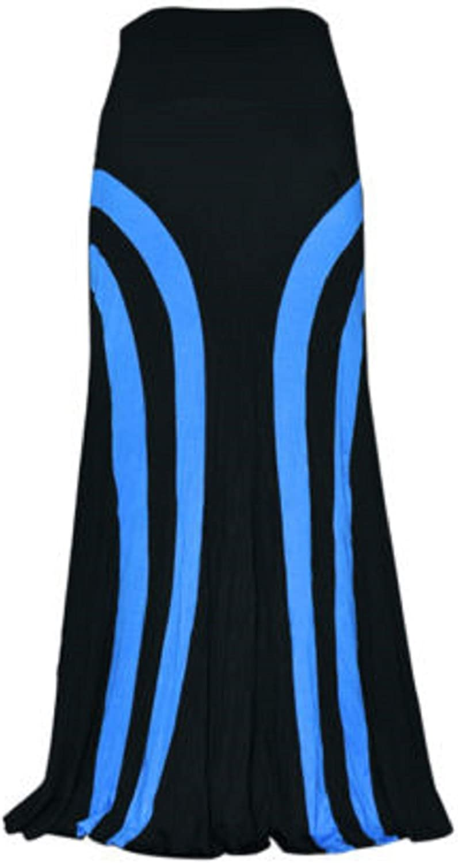 Abielmo - Maxi falda larga de tirar, elástica, color rojo, azul ...